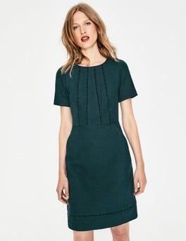Algengrün Strukturiertes Kleid mit Muschelsaum
