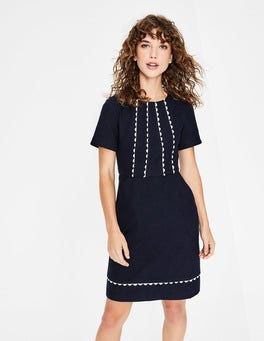Navy Scallop Jane Textured Dress