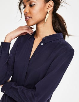 Navy  The Silk Shirt