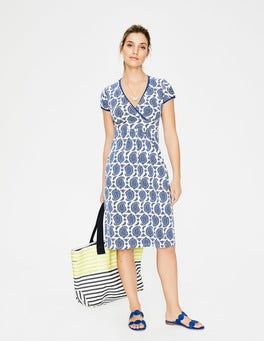 Klein Blue Paisley Casual Jersey Dress