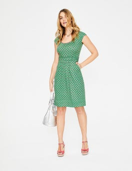 Blattgrün, Kleines Holzschnittmuster Margot Jerseykleid