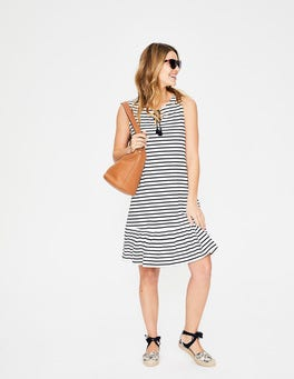 Ivory/Navy Stripe Arabella Jersey Dress