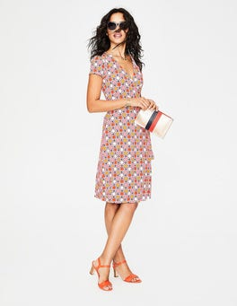Pink Frosting Stylised Flower Summer Wrap Dress