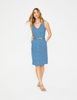 Cyan Spotty Daisy Melinda Jersey Dress