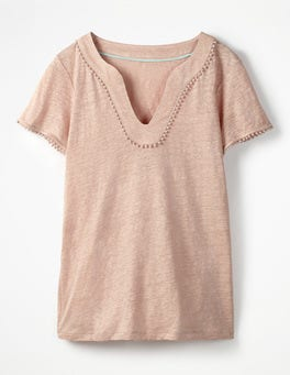 Milkshake Linen Notch Neck Jersey Top