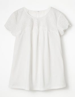 White Cecelia Broderie Top