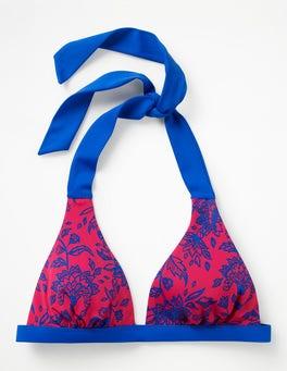 Pink Wild Flower Positano Halter Bikini Top