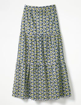 Navy, Flower Cup Geo Thea Maxi Skirt
