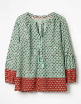 Opal Green Ditsy Woodblock Gauzy Tie-Neck Top