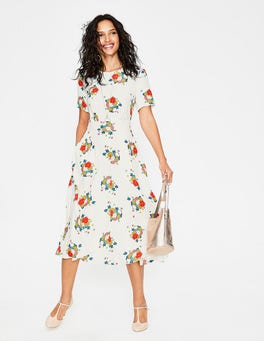 Ivory Blooming Bouquet Ruth Midi Dress