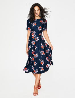 Navy Blooming Bouquet Ruth Midi Dress