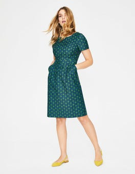 Foliage Stylised Flower Textured Fit and Flare Dress