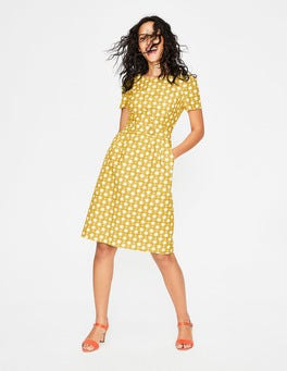 Mimosa Yellow Stylised Flower Sierra Textured Dress