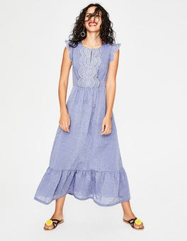 Chambray with Ivory Embroidery Lucinda Broderie Dress