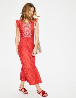 Flamencorot/Naturweiß, Stickerei Lucinda Kleid mit Lochstickerei