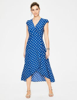 Riviera Blue Polka Hoops Antonia Wrap Dress