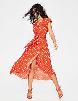 Blood Orange Polka Hoops Antonia Wrap Dress