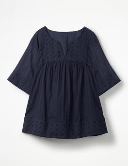 Navy Helene Broderie Top