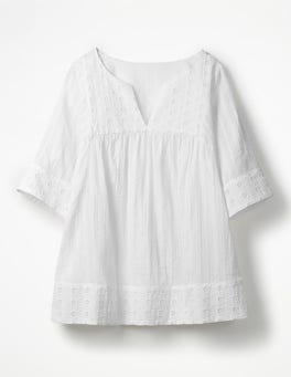 White Helene Broderie Top