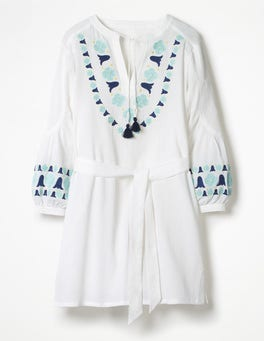 White Odetta Embroidered Kaftan