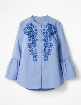 Chambray Embroidered Bell Sleeve Shirt