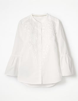 White Embroidered Bell Sleeve Shirt