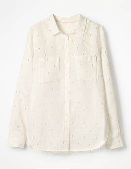 Ivory Gold Rose Field Spaced The Linen Shirt
