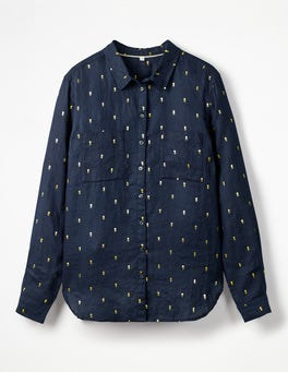 Navy Gold, Rose Field Spaced The Linen Shirt