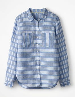 Blue Stripe Horizontal The Linen Shirt
