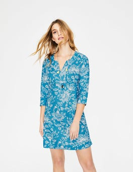Blue Lagoon Wild Floral Casual Linen Tunic