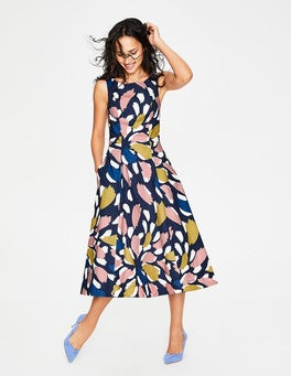 Navy Brush Stroke Spray Elena Dress