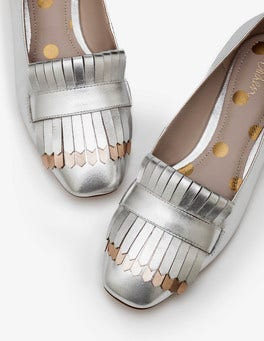 Silver Metallic Sophie Fringed Flats