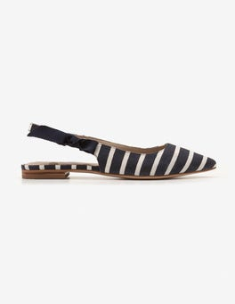 Navy and Ivory Stripe Hilary Slingbacks