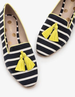 Navy and Ivory Stripe Rowan Slipper Shoes