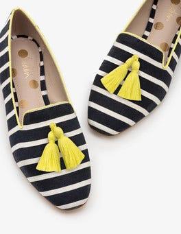 Navy and Ivory Stripe Rowan Slipper Shoes