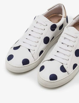 Navy Embroidered Spot Hollie Trainers