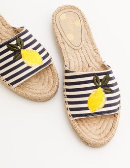 Navy and Ivory Stripe Corrie Espadrille Slides