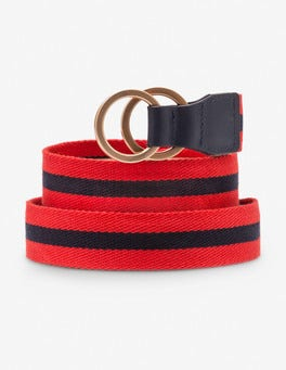Snapdragon and Navy Stripe Webbing Belt
