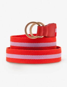 Red Pop and Rosebay Stripe Webbing Belt