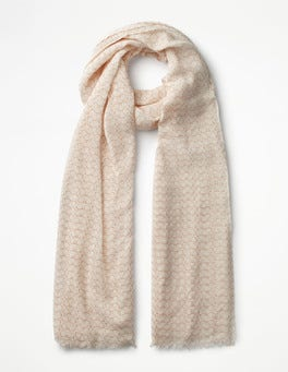 Ivory/Pink Glasses Printed Scarf