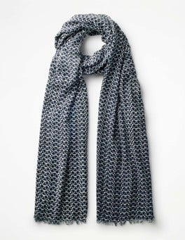 Navy/Oxford Blue Glasses Printed Scarf