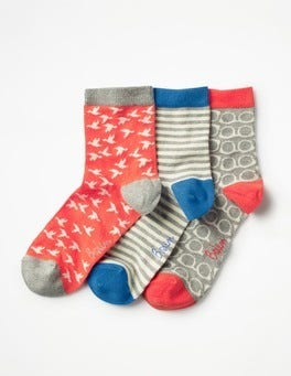 Grey Marl Three Pack Socks