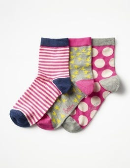 Carmine Rose Three Pack Socks