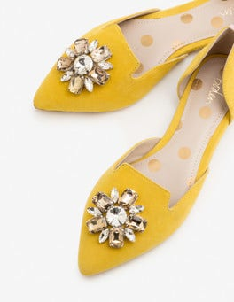 Mimosa Yellow Leah Jewelled Flats
