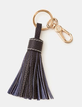 Navy Leather Tassel Keyring