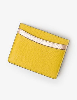 Mimosa Yellow/Navy Leather Card Holder