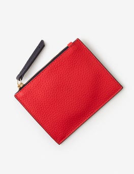 Red Pop/Navy Leather Coin Purse