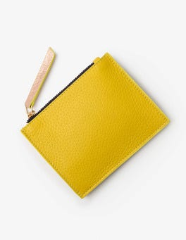 Mimosa Yellow/Navy Leather Coin Purse