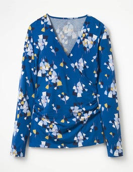 Riviera Blue Tulip Long Sleeve Wrap Top