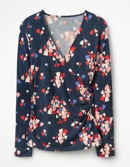 Navy Tulip Long Sleeve Wrap Top